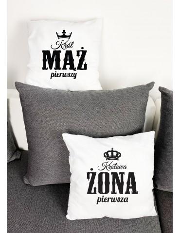 Prezent dla Męża Żony, poduszki Król Mąż Królowa Żona - Akomu.pl