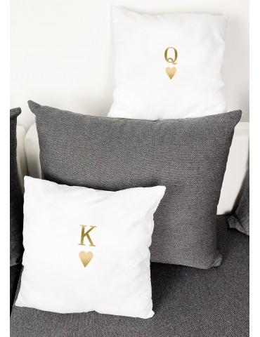 Poduszki dla par złote nadruki K Q - Akomu.pl