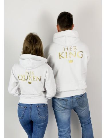 Bluzy dla par His Queen Her King z kapturem, białe bluzy - Akomu