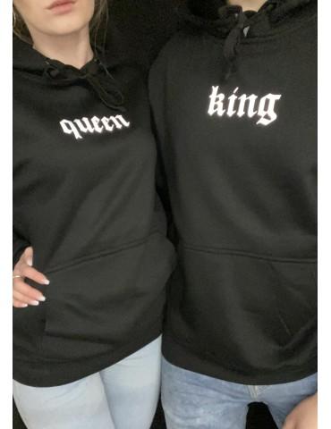 Bluzy dla par odblaskowy nadruk King Queen