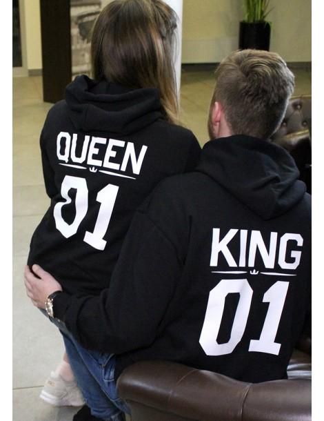 Bluzy dla par King 01 Queen 01 z kapturem czarne