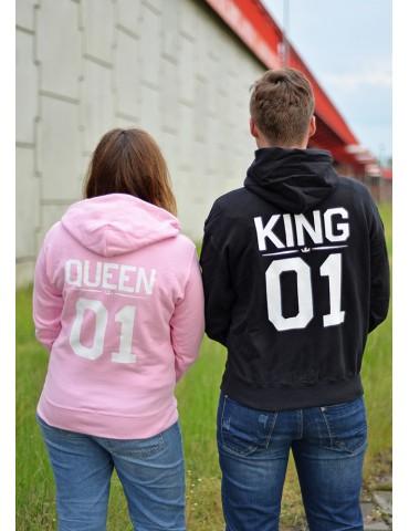 King 01 Queen 01 bluzy dla par czarna i różowa