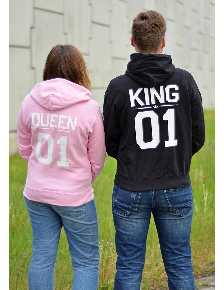 Bluzy dla par King 01 Queen 01 z kapturem czarna pudrowy róż