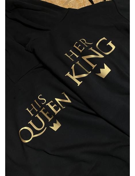 Bluzy dla par z kapturem His Queen Her King złoty nadruk czarne