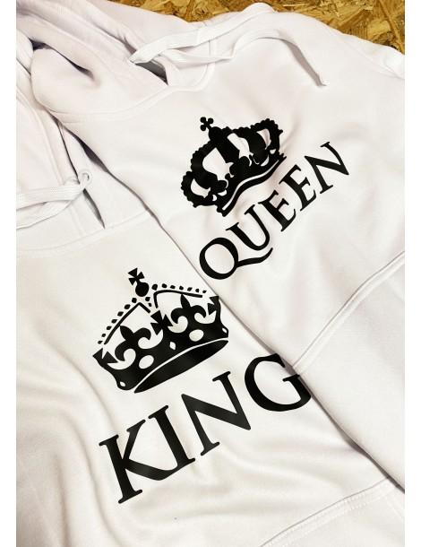 Komplet dla par King Queen z koroną białe bluzy z kapturem