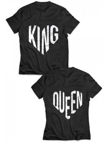 Koszulki dla par King Queen serca czarne