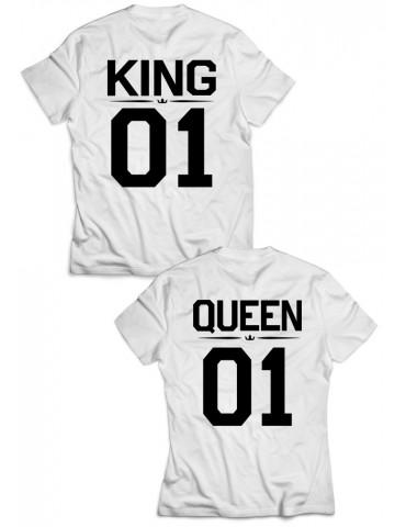 Koszulki Queen 01 King 01 dla par białe