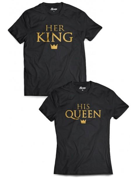 Koszulki dla par Her King His Queen /złoty nadruk/ czarne
