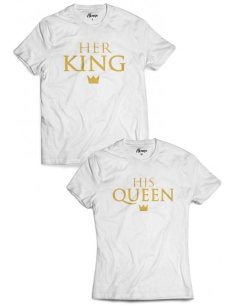 Koszulki dla par Her King His Queen /złoty nadruk/ białe