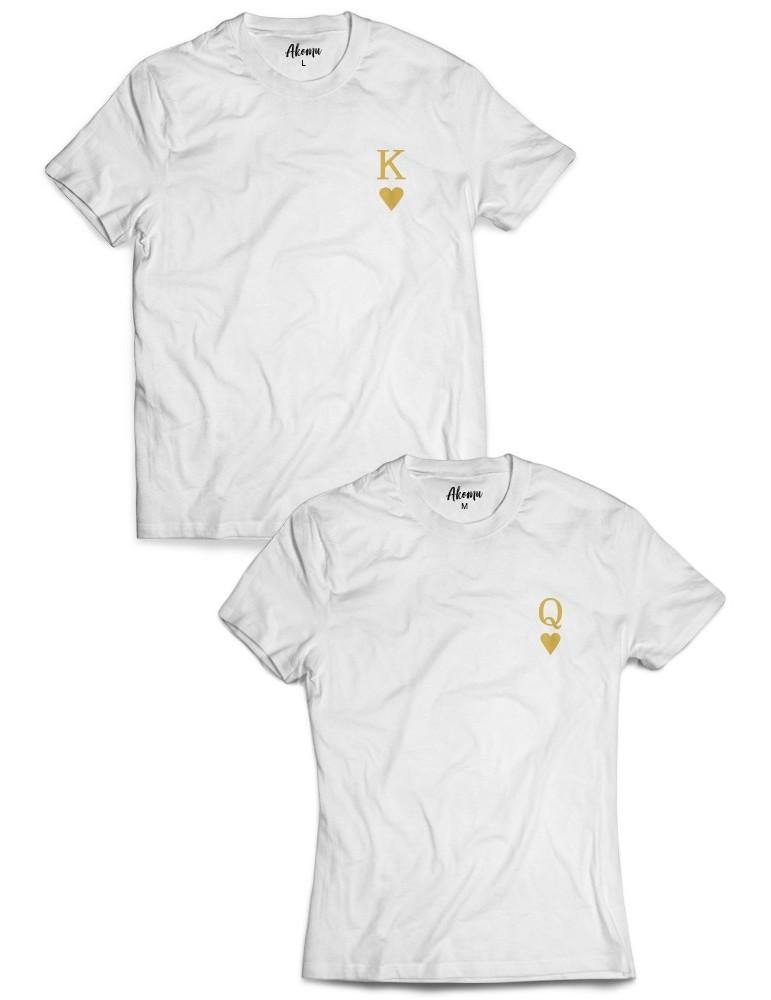 Koszulki dla par K & Q na piersi /złoty nadruk/ białe