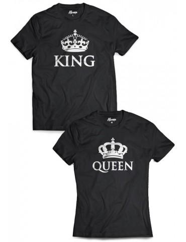Koszulki dla par King Queen z koronami czarne