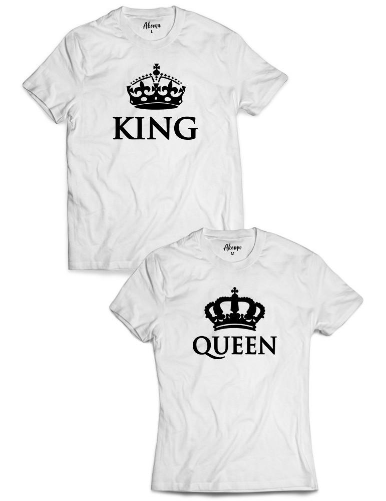 Koszulki dla par King Queen z koronami białe