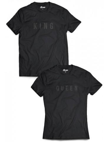 Koszulki dla par King Queen czarny nadruk na czarnej koszulce