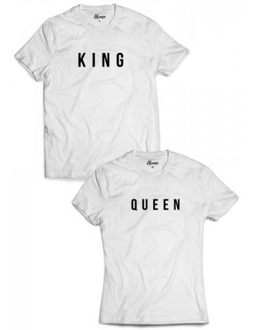 Koszulki dla par King Queen białe