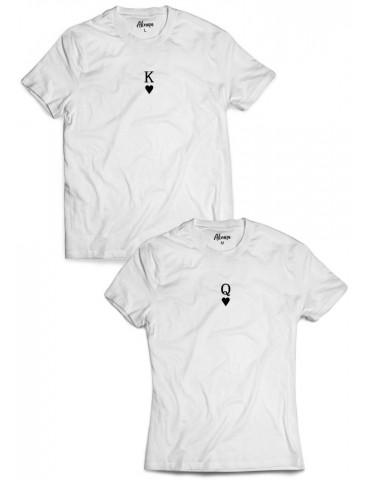 Koszulki dla par King Queen mały nadruk białe