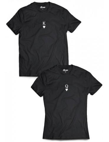 Koszulki dla par King Queen mały nadruk czarne