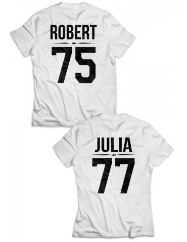 Koszulki dla par /personalizowane/ z własnym nadrukiem białe