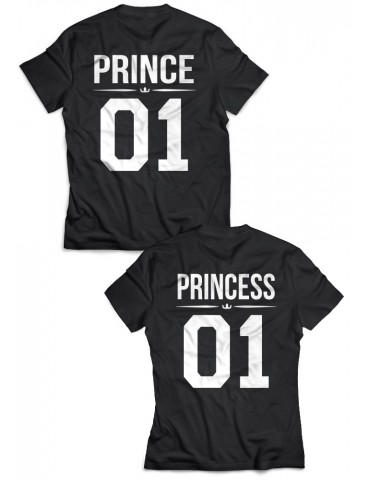 Koszulki Prince 01 Princess 01 dla par czarne