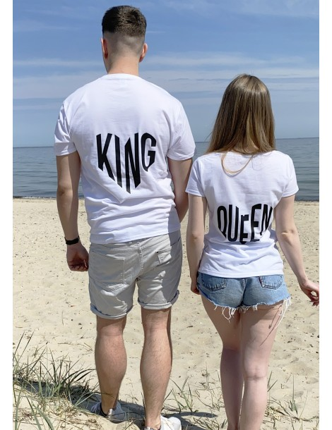 Koszulki dla par King Queen serca na plecach białe