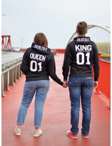Bluzy z kapturem dla par King Queen 01 z własną datą na kapturze