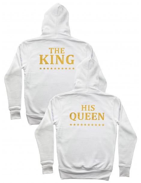 Bluzy dla par The King His Queen /złote/ z kapturem białe