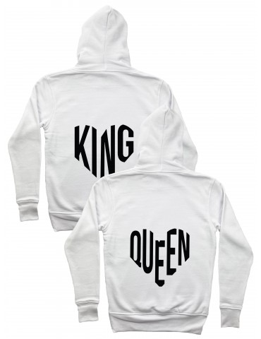 Bluzy dla par King Queen serce białe