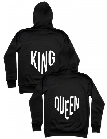 Bluzy dla par King Queen serce czarne