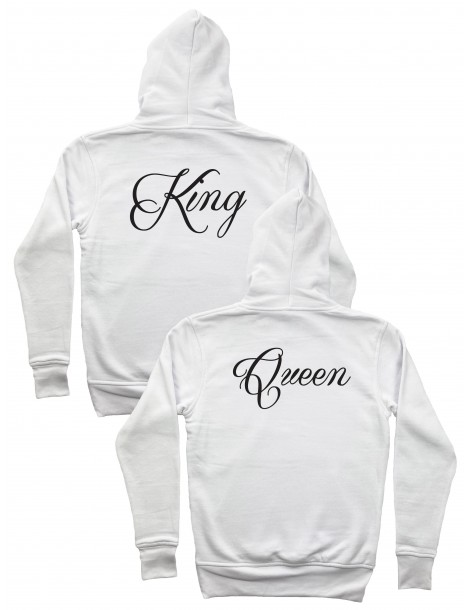 Bluzy dla niej i dla niego King Queen z kapturem białe