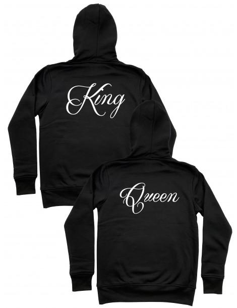 Bluzy dla niej i dla niego King Queen z kapturem czarne