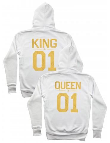 Białe bluzy dla par ze złotym nadrukiem King Queen 01
