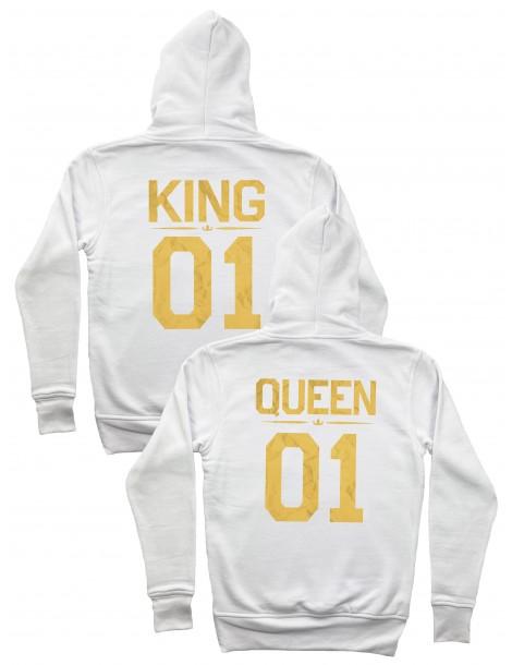 Bluzy dla par King 01 Queen 01 ze złotym nadrukiem białe