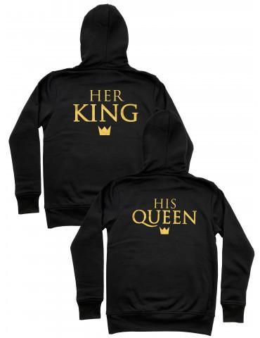 His Queen Her King Bluzy dla par złoty nadruk białe czarne
