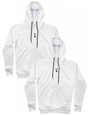 Bluzy dla par z małym nadrukiem K Q białe