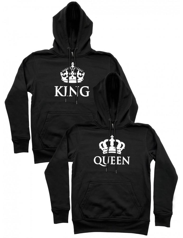 King Queen korony bluzy dla par z kapturem czarne