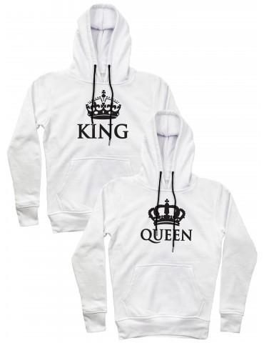 King Queen korony bluzy dla par z kapturem biała