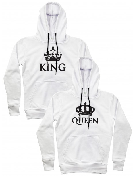 Bluzy dla par King Queen z koroną białe