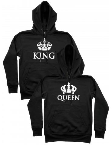 Bluzy dla par King Queen z koroną czarne