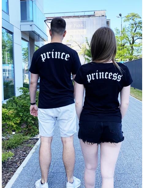 Koszulki dla par Prince Princess czarne