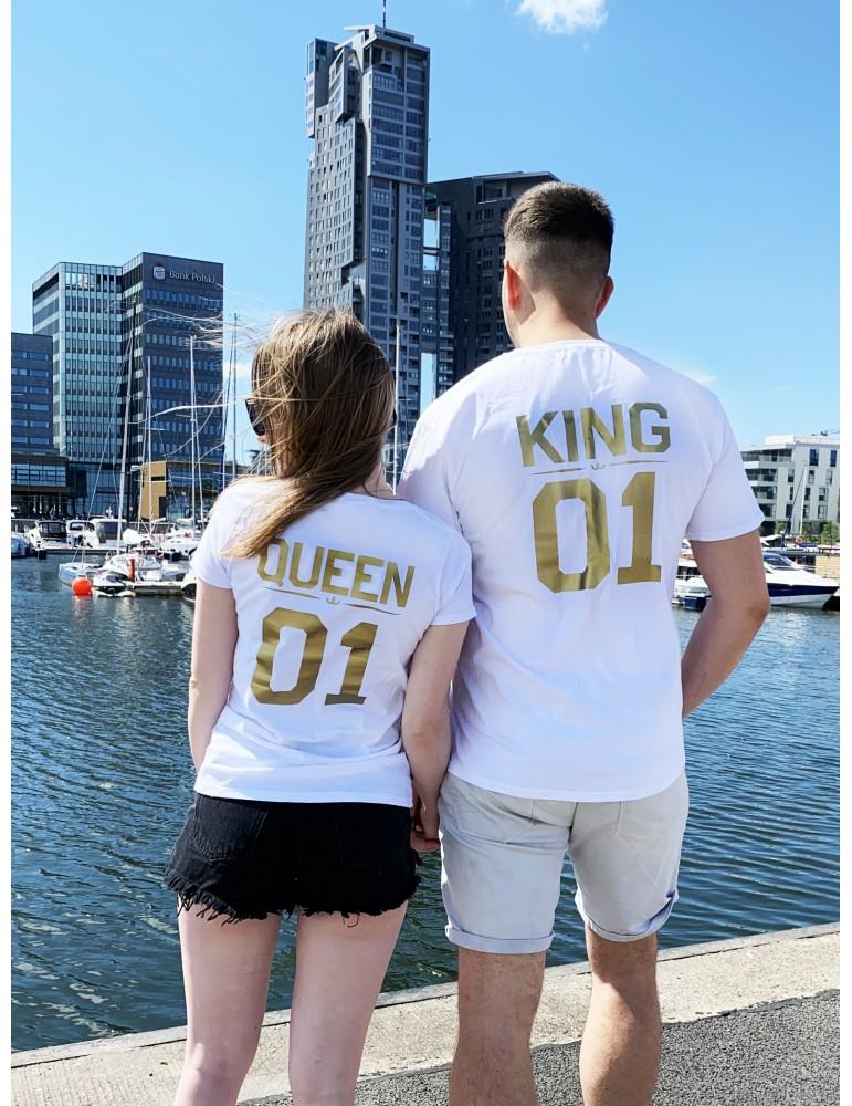 Koszulki dla par Queen 01 King 01 /złoty nadruk/ białe
