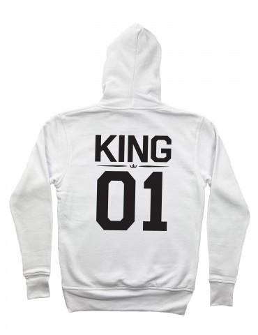 Bluza męska King 01 z kapturem biała