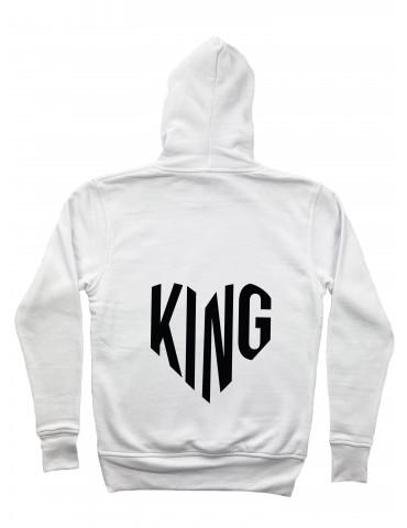 Bluza męska King serce z kapturem biała