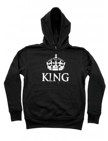 Bluza dla par King z koroną z kapturem czarna
