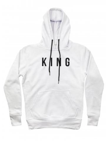Bluza King biała z kapturem