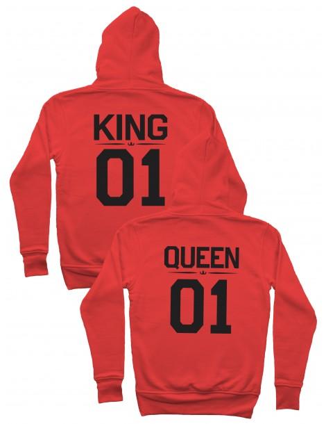 King 01 Queen 01 Bluzy dla par z kapturem czerwone