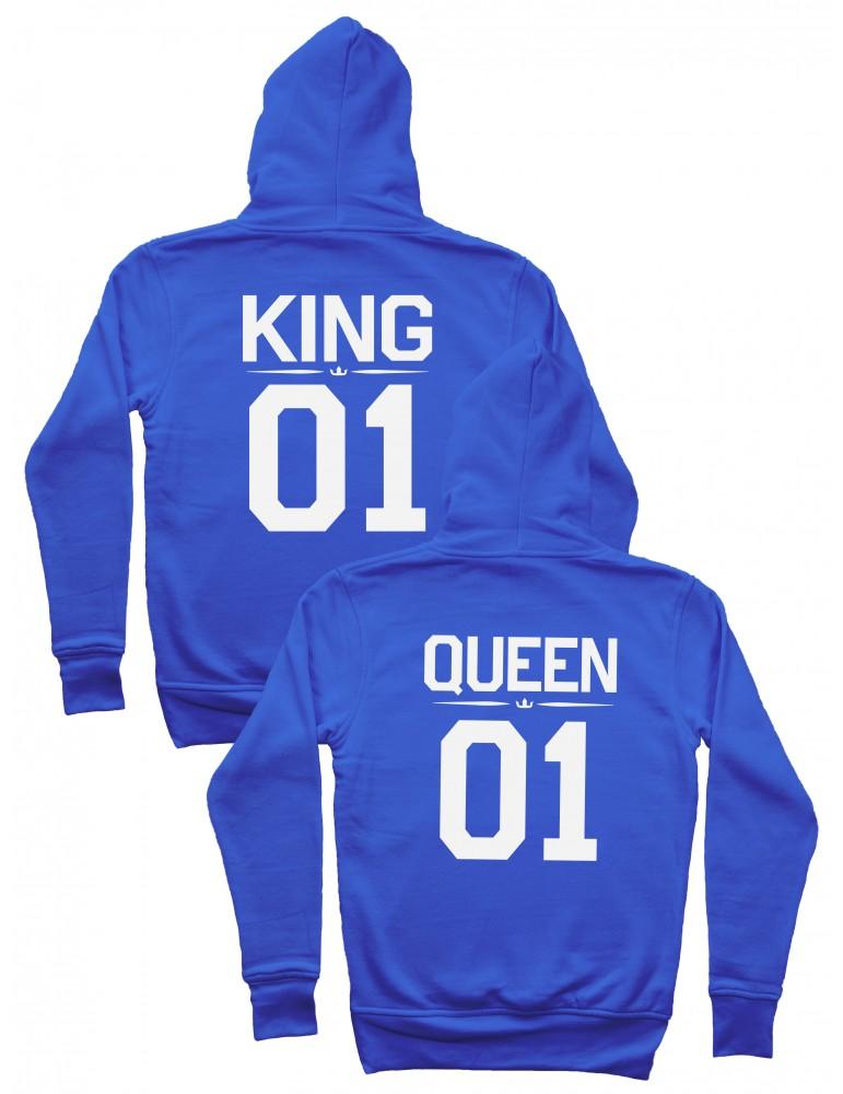 King 01 Queen 01 Bluzy dla par z kapturem niebieskie