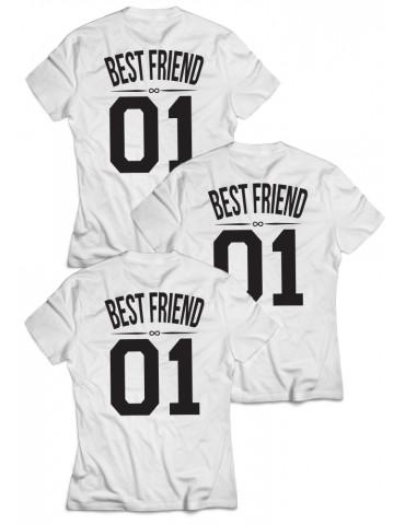 3x koszulki dla przyjaciółek Best Friend 01 białe