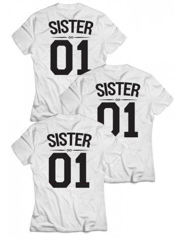 3x Koszulki dla przyjaciółek Sister 01 białe