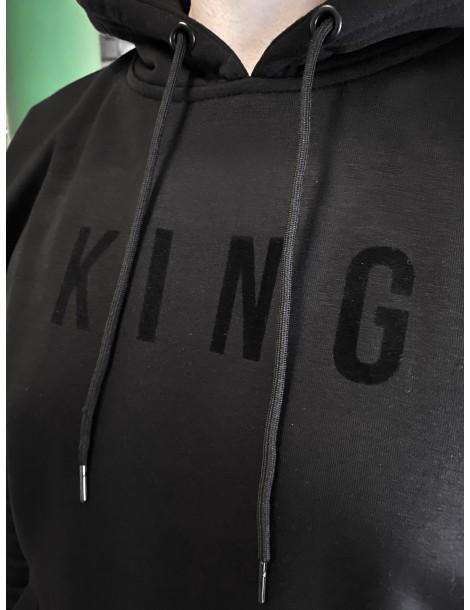 Bluza męska King z nadrukiem czarny zamsz