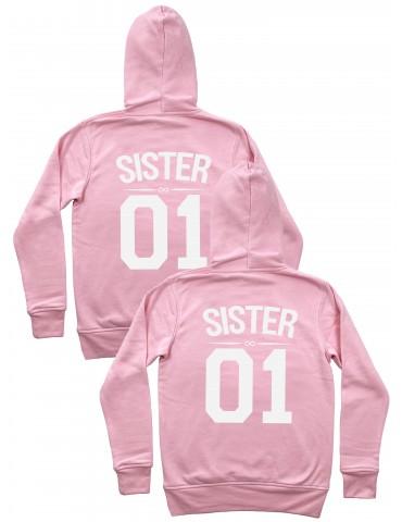 Sister 01 bluzy dla przyjaciółek i sióstr z kapturami pudrowy róż
