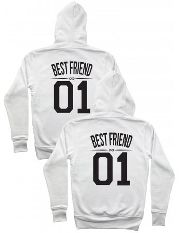 Best Friend 01 bluzy z kapturem dla przyjaciółek białe